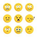 Grupo de caras de sorriso tristes do emoticon ilustração do vetor