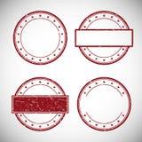 Grupo de carimbo de borracha vermelho do grunge, ilustração do vetor Fotos de Stock Royalty Free