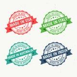 Grupo de carimbos de borracha para feito nos EUA, na Austrália, no india e na Italia ilustração stock