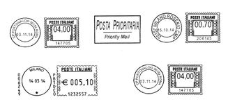 Grupo de carimbos postais italianos escuros Foto de Stock