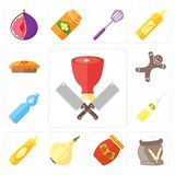 Grupo de carniceiro, farinha, doce, cebola, mostarda, óleo, água, Gingerbr ilustração do vetor