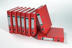 Grupo de carpetas de anillo rojas Fotos de archivo libres de regalías