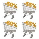Grupo de carrinho de compras com disconto. Fotografia de Stock Royalty Free