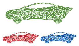 Grupo de carro/automóvel dos ícones feitos das folhas/Fol Fotografia de Stock Royalty Free