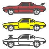 Grupo de carro do músculo para o logotipo e os emblemas Estilo retro e do vintage Carro de competência do arrasto Imagem de Stock Royalty Free