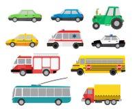 Grupo de carros bonitos dos desenhos animados e de veículos especiais Illustrati do vetor Imagens de Stock