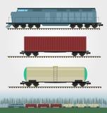 Grupo de carros da carga do trem de mercadorias Recipiente, tanque, funil e caixa Fotografia de Stock Royalty Free