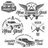 Grupo de carros do lowrider, de lowrider, de máquina do lowrider, de lowrider para emblemas e de projeto Imagem de Stock