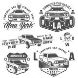 Grupo de carros do lowrider, de lowrider, de máquina do lowrider, de lowrider para emblemas e de projeto Fotos de Stock