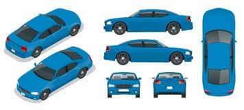 Grupo de carros do sedan Carro isolado, molde para marcar e anunciar Dianteiro dianteiro, traseiro, lateral, superior e isometry  ilustração stock