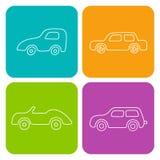 Grupo de 4 carros dos desenhos animados do quadrado branco Web do vetor e transp móvel Fotografia de Stock Royalty Free