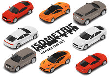 Grupo de carros luxuosos modernos Grupo de alta qualidade isométrico do ícone do transporte da cidade do vetor Imagem de Stock Royalty Free