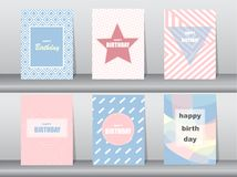 Grupo de cartão de aniversário no projeto retro do teste padrão, vintage, cartaz, molde, cumprimento, ilustrações do vetor Imagens de Stock