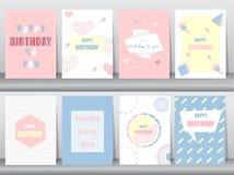 Grupo de cartão de aniversário no projeto retro do teste padrão, vintage, cartaz, molde, cumprimento, ilustrações do vetor Foto de Stock Royalty Free