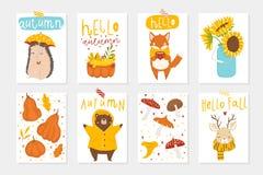 Grupo de 8 cartão bonitos do outono com animais ilustração do vetor