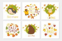 Grupo de 6 cartão bonitos do outono com animais ilustração royalty free