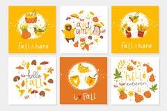 Grupo de 6 cartão bonitos do outono com animais ilustração do vetor