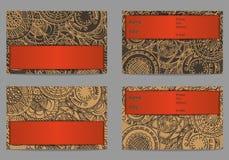 Grupo de cartão com o ornamento tirado mão Fotos de Stock Royalty Free