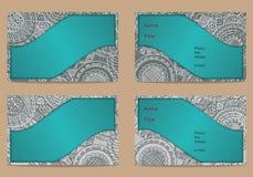Grupo de cartão com o ornamento tirado mão Imagem de Stock