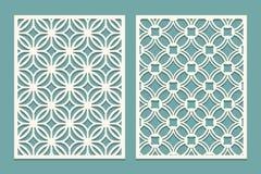 Grupo de cartão cortado Painéis do corte do laser Silhueta do entalhe com teste padrão geométrico Ornament apropriado para imprim ilustração do vetor