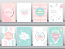 Grupo de cartão da festa do bebê no projeto retro do teste padrão, vintage, cartaz, molde, cumprimento, ilustrações do vetor Foto de Stock