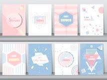 Grupo de cartão da festa do bebê no projeto retro do teste padrão, vintage, cartaz, molde, cumprimento, ilustrações do vetor Fotos de Stock