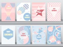 Grupo de cartão da festa do bebê no projeto retro do teste padrão, vintage, cartaz, molde, cumprimento, ilustrações do vetor Imagem de Stock