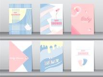 Grupo de cartão da festa do bebê no projeto retro do teste padrão, vintage, cartaz, molde, cumprimento, ilustrações do vetor Foto de Stock Royalty Free