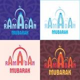 Grupo de cartão da ramadã Imagens de Stock
