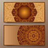 Grupo de cartão da visita do vintage do vetor Teste padrão floral e ornamento da mandala Imagens de Stock