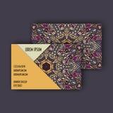 Grupo de cartão da visita do vintage do vetor Teste padrão floral e ornamento da mandala Disposição de projeto oriental Islã, ára Foto de Stock