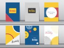 Grupo de cartão de aniversário no projeto retro do teste padrão, vintage, cartaz, molde, cumprimento, ilustrações do vetor Imagens de Stock Royalty Free