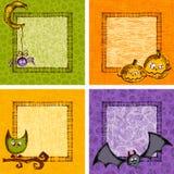 Grupo de cartão de Dia das Bruxas ilustração stock