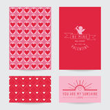 Grupo de cartão do dia de Valentim Fotografia de Stock