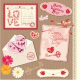 Grupo de cartão do dia de Valentim do vintage Imagens de Stock
