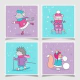 Grupo de cartão do Natal Animais da floresta Ilustração do vetor Fotos de Stock Royalty Free