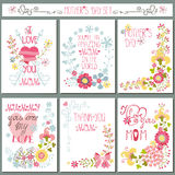 Grupo de cartão do vintage com decoração floral Dia de matrizes Imagem de Stock Royalty Free