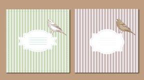 Grupo de cartão do vintage com pássaro Imagem de Stock Royalty Free