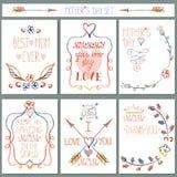 Grupo de cartão do vintage Decoração floral do lápis Dia de matrizes Foto de Stock Royalty Free