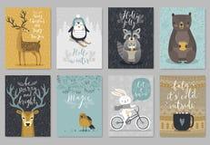 Grupo de cartão dos animais do Natal, estilo tirado mão ilustração do vetor