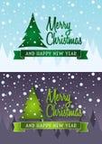 Grupo de cartão dos cristmas do vetor Conceitos de projeto Imagens de Stock