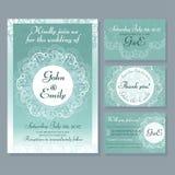 Grupo de cartão e de anúncios de casamento do vintage Vetor Fotografia de Stock