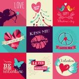 Grupo de cartão feliz do dia de Valentim ilustração royalty free