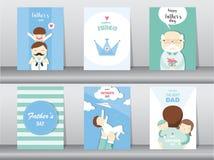 Grupo de cartão feliz do dia do ` s do pai, cartaz, molde, cartões, filho, abraço, ilustrações do vetor Imagens de Stock Royalty Free