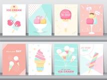 Grupo de cartão nacional feliz do convite do dia do gelado, cartaz, cumprimento, molde, cone, colher, sundae, bonito, ilustrações Imagens de Stock