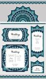 Grupo de cartão ou de convite do casamento Teste padrão oriental marinho Ornamento gráfico festivo Fotos de Stock