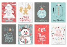 Grupo de cartão tirado mão do Natal ilustração do vetor
