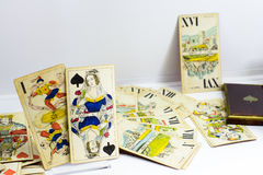 Grupo de cartão velho do tarô de Hungria Fotografia de Stock Royalty Free