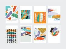 Grupo de cartões abstrato do vetor Elemens tirados mão em cores brilhantes pontos pontos e cursos da escova no estilo imperfeito Fotografia de Stock Royalty Free
