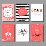 Grupo de cartões artístico criativo do dia do ` s do Valentim Ilustração do vetor Foto de Stock